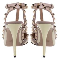 Valentino Cream/Beige Patent Leather Rockstud Ankle Strap Sandals Size 39