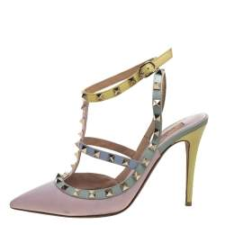 Valentino Tricolor Leather Rockstud Pointed Toe Ankle Strap Sandals Size 39.5