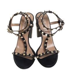 Valentino Black Leather Rockstud Accents T-Strap Sandals Size 38