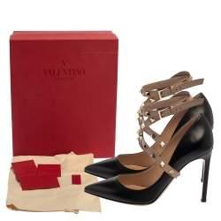 حذاء كعب عالى فالنتينو مقدمة مدببة ملتف حول الكاحل روكستد جلد بيج / أسود مقاس 36
