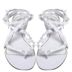 Valentino  White Leather Rockstud Ankle Wrap Flat Sandals 38