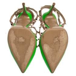 Valentino Green/Beige  Leather Rockstud  Pumps Size 38