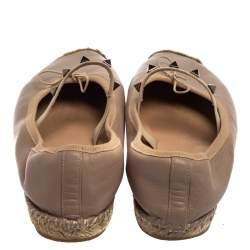 Valentino Beige Leather Rockstud Flat Espadrilles Size 36