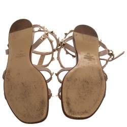 Valentino Pink Leather Rockstud Sandals Size 39
