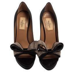 Valentino Black Satin Bow Peep Toe Pumps Size 38