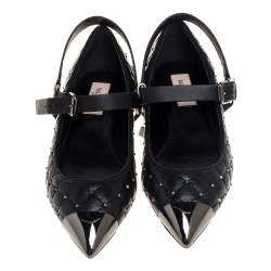 Valentino Black Quilted Leather Rockstud Metal Cap Toe Ballerina Flat Sandals Size 36