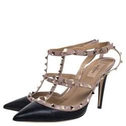 Valentino Black/Pink Leather Rockstud Sandals Size 41