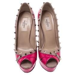 Valentino Pink/Beige Patent Leather Rockstud Criss Cross Peep Toe Pumps Size 37