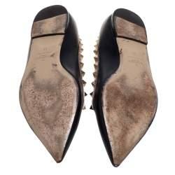 حذاء فلات باليه فالنتينو مرصعة جلد أسود مقاس 39