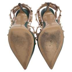 Valentino Green/Beige Leather Rockstud Sandals Size 36