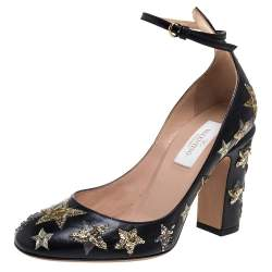 Valentino Black Leather Tango Sequin Star Ankle Strap Pumps Size 36