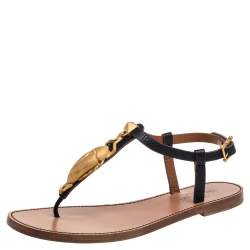 Valentino Black Leather Scarab Thong Sandals Size 37.5