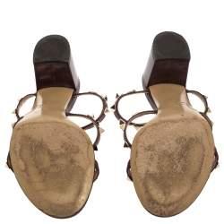 Valentino Burgundy Leather Rockstud Slide Sandals Size 39