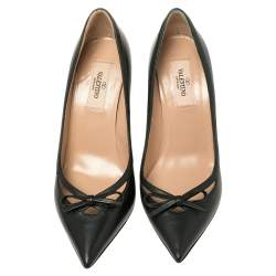 Valentino Dark Green Leather Bow Cut Out Pointed Toe Pumps Size 37.5