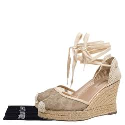 Valentino Beige Lace And Knit Fabric  Espadrille Wedge Sandals Size 38