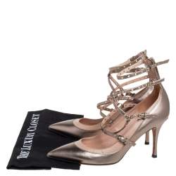 Valentino Metallic Gold/Beige Leather Love Latch Detail Eyelet Embellished Pumps Size 39