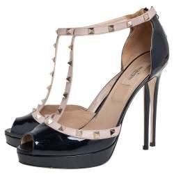 Valentino Navy Blue/Beige Patent Leather Rockstud T Strap Platform Pumps Size 41