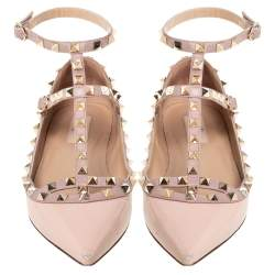 Valentino Beige Patent Leather T Strap Rockstud Pointed Toe Ballet Flats Size 39.5