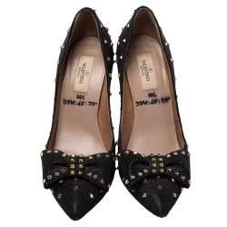 Valentino Black Dazzling Quartz Bow Studded Pumps Size 39