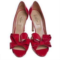 Valentino Red Patent Leather Bow D'orsay Pumps Size 38.5