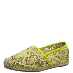 Valentino Yellow Lace Espadrille Flats Size 36