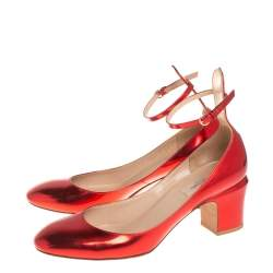 Valentino Metallic Red Leather Tango Block Heel Ankle Strap  Pumps Size 39