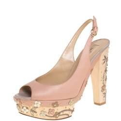 Valentino Beige Leather Floral Chunky Heel Platform Slingback Sandals Size 40.5