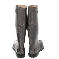 Valentino Black/Beige Lace Print Rubber Rain Boots Size 36