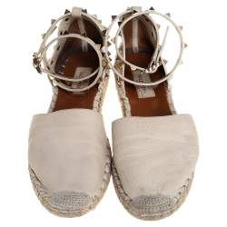 Valentino Off White Leather Rockstud Ankle Strap Flat Espadrilles Size 37