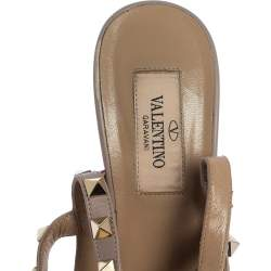 Valentino Pink/Beige Leather Rockstud Strappy Pointed Toe Sandals Size 37