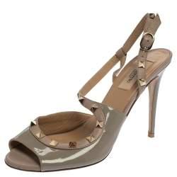Valentino Grey/Pink Patent Leather Rockstud Peep Toe Sandals Size 39