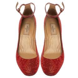 Valentino Red Crystal Embellished Suede Block Heel Ankle Strap Pumps Size 39