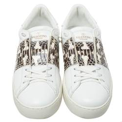 Valentino White Leather, Python Embossed Leather Band Low Top Sneakers Size 40