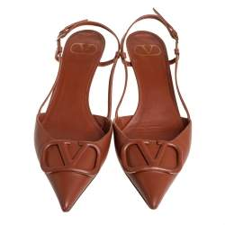 Valentino Brown Leather VLogo Signature Slingback Pumps size 39