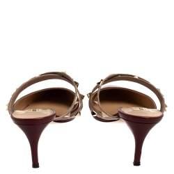 Valentino Burgundy Leather Rockstud Mules Sandals Size 39.5