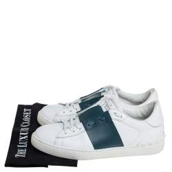 Valentino White/Grey Leather Rockstud Low Top Sneakers Size 39