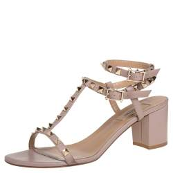 Valentino Pink Leather Rockstud Cage Sandals Size 39