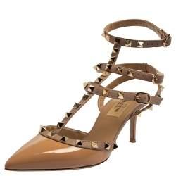 Valentino Beige Patent Leather Rockstud Sandals Size 37