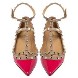 Valentino Pink Patent Leather Rockstud Ankle Strap Flats Size 41