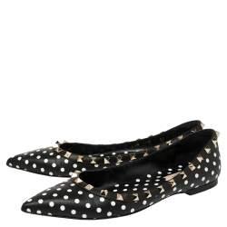 Valentino Black/White Leather Polka Dot Rockstud Ballet Flats Size 39