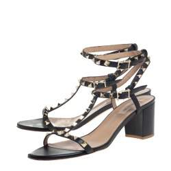 Valentino Black Leather Rockstud Block Heel Ankle Strap Sandals Size 41