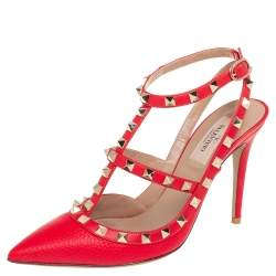 Valentino Red Leather Rockstud Pumps Size 38