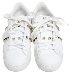 Valentino White Leather Rockstud Low Top Sneakers Size 35.5