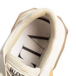 Valentino x Undercover White Leather Chain Rose Print Bounce Sneakers Size 39