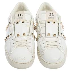 Valentino White Leather  Rockstud Untitled Low Top Sneakers Size 39.5