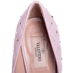 Valentino Pink Quilted Leather Rockstud Embellished Pointed Toe Pumps Size 39