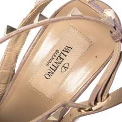Valentino Light Pink Leather Rockstud Pointed Toe Ankle Strap Sandals Size 39