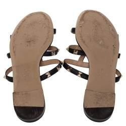 Valentino Black Leather Rockstud Open Toe Flat Slides Size 38