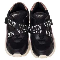 Valentino Black Mesh And Leather VLTN Heroes Velcro Strap Sneakers Size 39