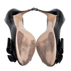 Valentino Black Patent Leather Bow Peep Toe Pumps Size 37.5
